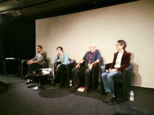 de gauche à droite, Stéphane Servant, Carole Trébor, Yves Grevet, Nathalie Stragier